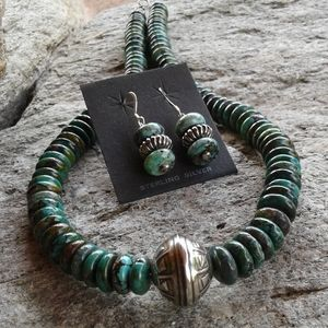 Jewelry - Sterling Silver Genuine TURQUOISE NECKLACE set